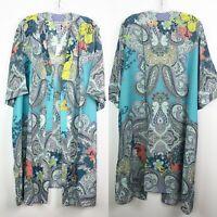 Catherines Kimono 2X Paisley cardigan open duster boho hippie peasant funky art