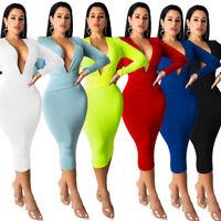 Fashion Women Long Sleeves Deep V Neck Solid Sexy Ladies Skinny Dress Club Party