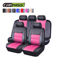Universal Car Seat covers PU Leather Pink Fit For Honda Mazda Holden Toyota VW