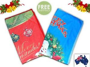 Merry Christmas Hand Face Towels, Santa Claus, Red & Blue Gift Bell Tree Towel