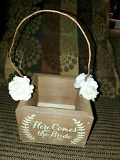 Here Comes the Bride Wedding Flower Girl Wood Box Basket Rustic