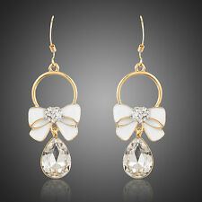Sparkle Brillo blanco cristal de Austria 14K Oro Plateado Bowknot cuelgan pendientes de gota