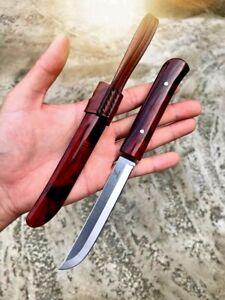 Straightback Knife Mini Samurai Hunting Combat Tactical Military Wood Handle Cut