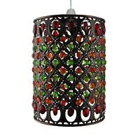 Multi Red and Green Jewels in Antique Brass Moroccan Pendant Shade