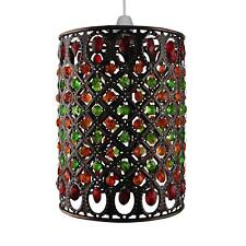 Brass moroccan lamp shades ebay multi red and green jewels in antique brass moroccan pendant shade aloadofball Images