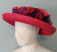 Womens Red Hat Society Straw Hat w Rim Breton Style Gathered Ribbons Size 7/Med