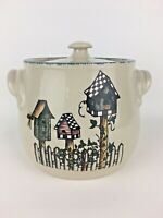 """Home and Garden Party Birdhouse Stonewear Crock Cookie Jar Canister 7"""" diameter"""