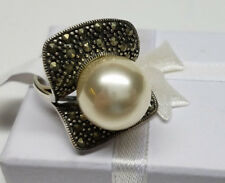 Vintage Pearl & Marcasite 925 Sterling Silver Ring Size 7