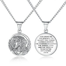 Classic Men Women Christian Jesus Stainless Steel Bible Pendant Necklace Chain
