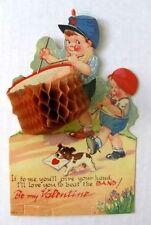1920s Dimensional Crepe Paper Valentine's Day Card Drummer Boy
