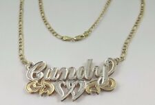 "10k Two Tone Gold Candy Double Plated Name Plate With 18"" Diamond Cut Chain"