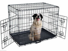 48'' 2 Doors Wire Folding Pet Crate Dog Cat Cage Suitcase Kennel Playpen w/ Tray