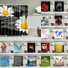 12 Hooks 180x180cm Waterproof Fabric Bathroom Shower Curtain Sheer Panel Decor