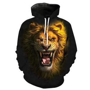 Lion Print Mens Hoodie Pullover Sports Casual Hooded Sweatshirt Casual Jacket #3