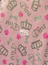 "PRINT POLAR FLEECE FABRIC - Diva Crown Pink - 60"" WIDTH SOLD BY THE YARD - 919"