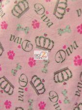 "PRINT POLAR FLEECE FABRIC - Diva Crown Pink - 60"" WIDTH SOLD BY THE YARD - 919"