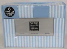 Bamboo Egyptian Comfort Series, 6 Piece Sheet Set QUEEN Size, Lt Blue & White