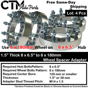 "4P 1.5"" THICK 8x6.5"" to 8x180mm WHEEL SPACER ADAPTER FIT 9/16 CHEVY DODGE & MORE"