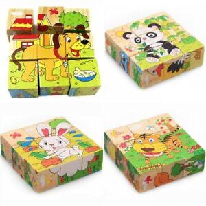 Jouet Puzzle Bois Cubes Jeu Enfant Bébé Dessin Animaux Fruits Educatif