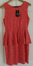 Quiz Glitter Peplum Cut Out Dress - Coral & Silver - Size 14 - BNWT - RRP £29.99