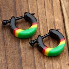1 Pair Rainbow Acrylic Hoop Huggie Ear Stud Women's Men's Earring Cool Jewelry