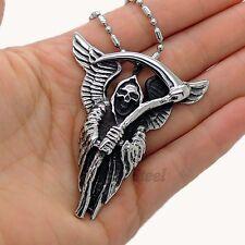 Men's Large Grim Reaper Skull Stainless Steel Biker Pendant Free Chain Necklace