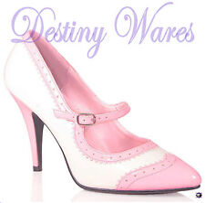 "Pleaser BABY PINK & WHITE Spectator Mary Jane Pumps 4"" High Heel Size 6US"