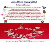 Mother to Daughter Theme Charm Bracelet Set with matching Poem on a 2x4 card