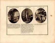 Stampa antica CONOSCENZA DI SE MIGLIORAMENTO allegorie 1790 Old Print Engraving