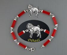 Bracelet  Chien CARLIN  et  JADE Rouge - Bracelet Red JADE with PUG Dog