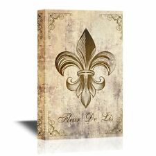 wall26 - Canvas - Fleur De Lis Flower on Vintage Abstract Background - 16x24