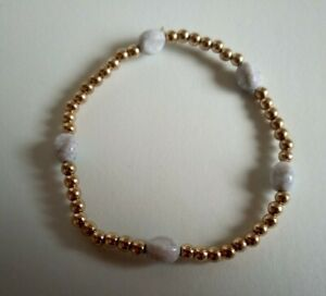 Lovely Pale Blue Crackled Effect Bead And Gold Elasticated Beaded Bracelet