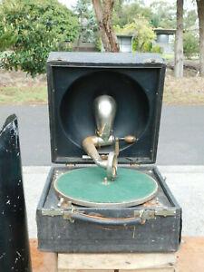 ANTIQUE GRAMOPHONE DECCA THE CRESECENDO JUNIOR SOUND BOX COMPLETE 1 CENT WONDER