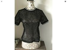 River Island Ladies Black White  Mesh Style Short Sleeved Top Size UK 6