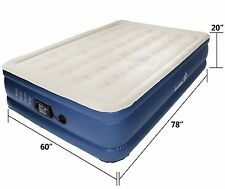 Ivation Queen Inflatable Air Bed with Built in Pump (Blue/Beige)