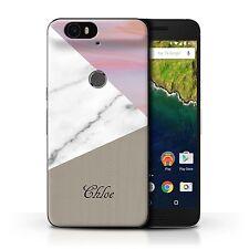 Personalised Custom Marble/Wood Case Huawei Nexus 6P/Pink/Gold Cover