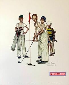 "Norman Rockwell Sporting Boys ""Missed"" Vintage Golf Fine Art Print 17 x 21"