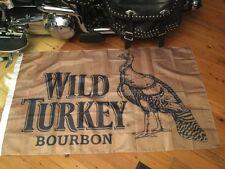 wild turkey 5 x 3  foot  flag man cave art  bar art pool room sign