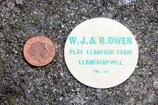 rare milk card cap dairy : Plas Llanfair ( Owen ) Llanfairpwll....Anglesey Wales
