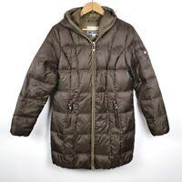 Eddie Bauer Puffer Goose Down Jacket Brown Long Sleeve Womens Winter Coat Large