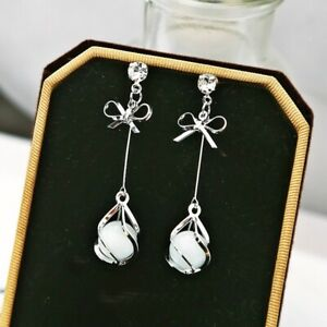 Gorgeous 925 Silver Jewelry Drop Earrings for Women White Sapphire A Pair/set