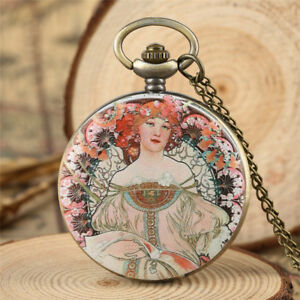 Vintage Elegant Women Lady Quartz Pocket Watch with Necklace Pendant Chain Gift