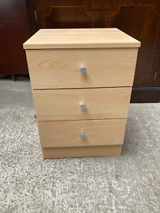 Modern Brown Light Wood Effect Bedside Unit Chest of Drawers Cabinet