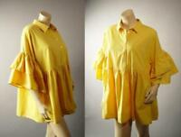 Yellow Mustard Ruffle Trumpet Sleeve Lagenlook Babydoll Top 280 mv Blouse M L