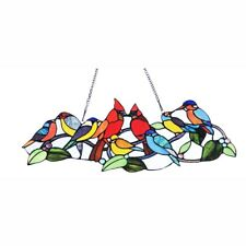Cardinal & Other Birds Design Stained Glass Hanging Window Panel Tiffany Style