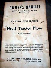 McCormick Deering #8 Tractor Plow Parts Manual Catalog