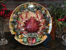 Antique Palissy Style Majolica Spider Crab Plate Charger Oyster Shell Ceramic