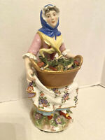 1770's French Majolica Figurine: Woman Selling Vegetables / Marked/ Signed