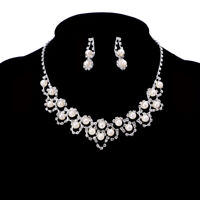 Elegant Women Pearl Crystal Necklace Earrings Bridal Wedding Party Jewelry Set