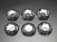 50 Transparent Clear Acrylic Flatback Faceted Round Rhinestone Cabochon 18mm